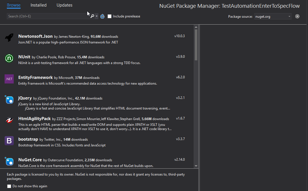 Manage NuGet packages VS 2017