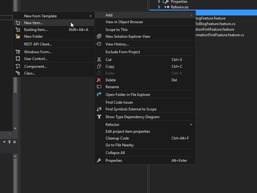 Jak dodać plik feature do projektu?
