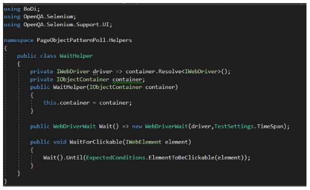 Klasa WaitHelper, która zawiera metodę WaitForClickable