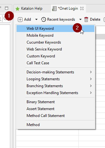 Web UI Keyword katalon
