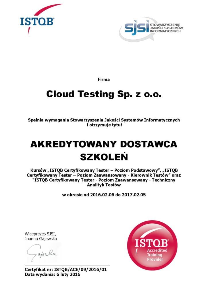 certyfikat potwierdzający, że jesteśmy akredytowanym dostawcą szkoleń